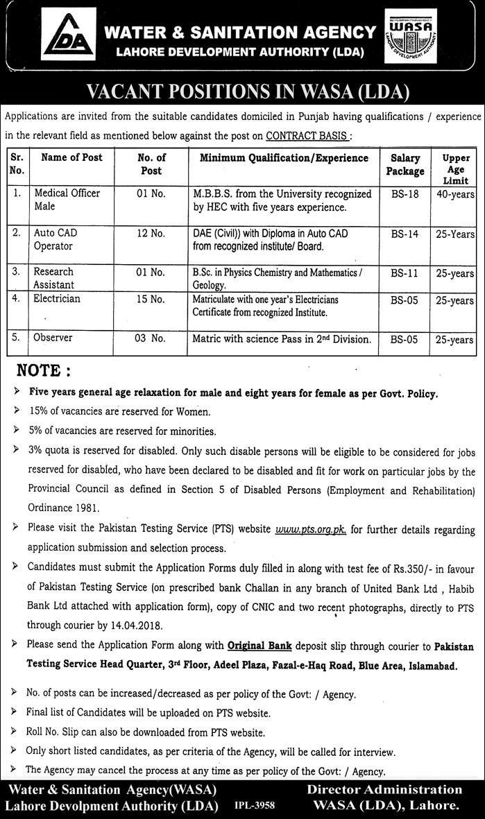 WASA Water and Sanitation Agency PTS Jobs Application Form Eligibility Criteria