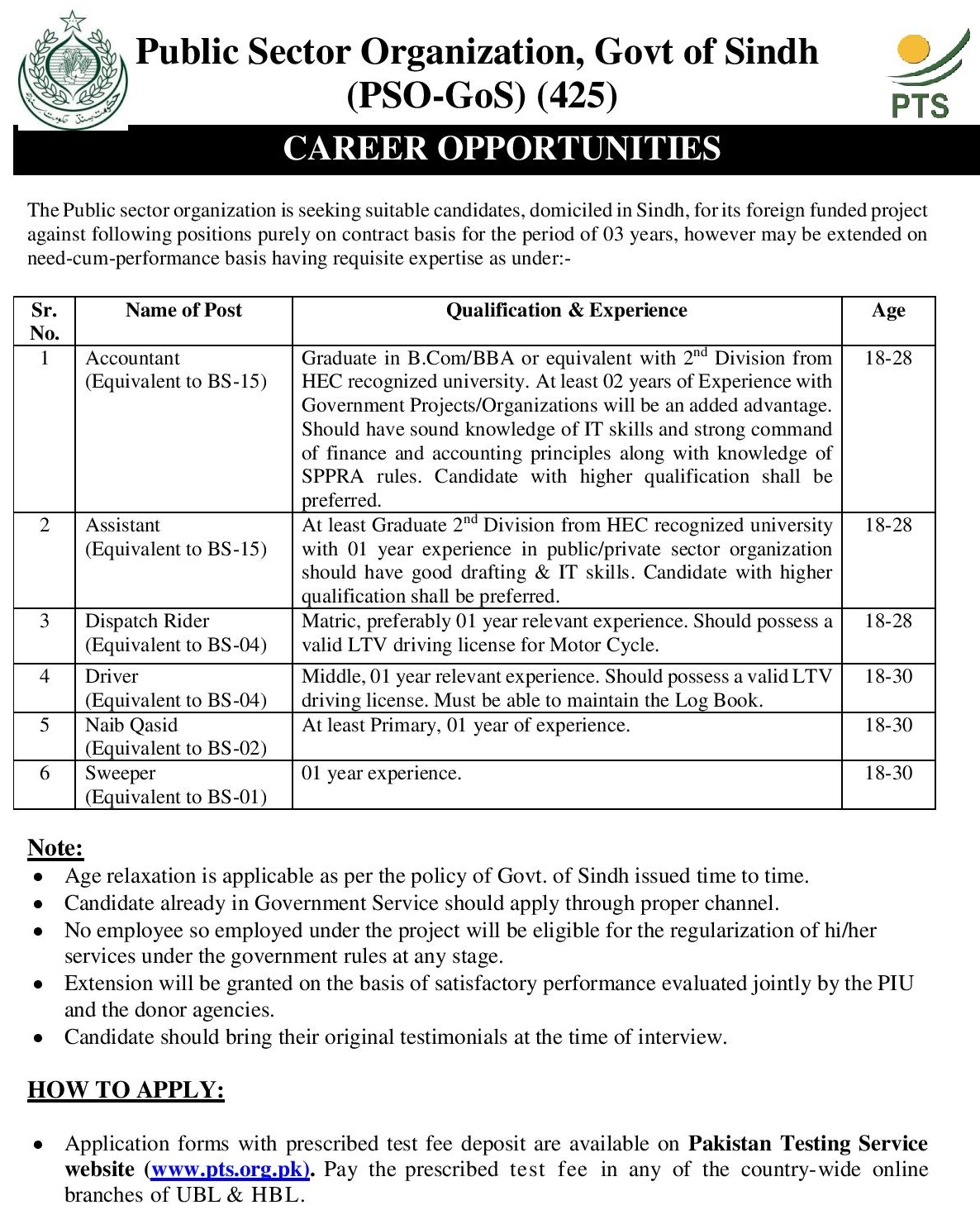 Public Sector PTS Jobs 2020 Application Form Roll No Slip