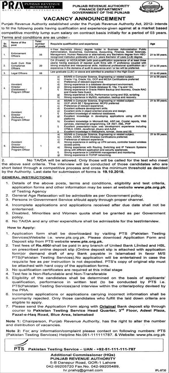 Punjab Revenue Authority Finance Department PTS Jobs 2021 Application Form