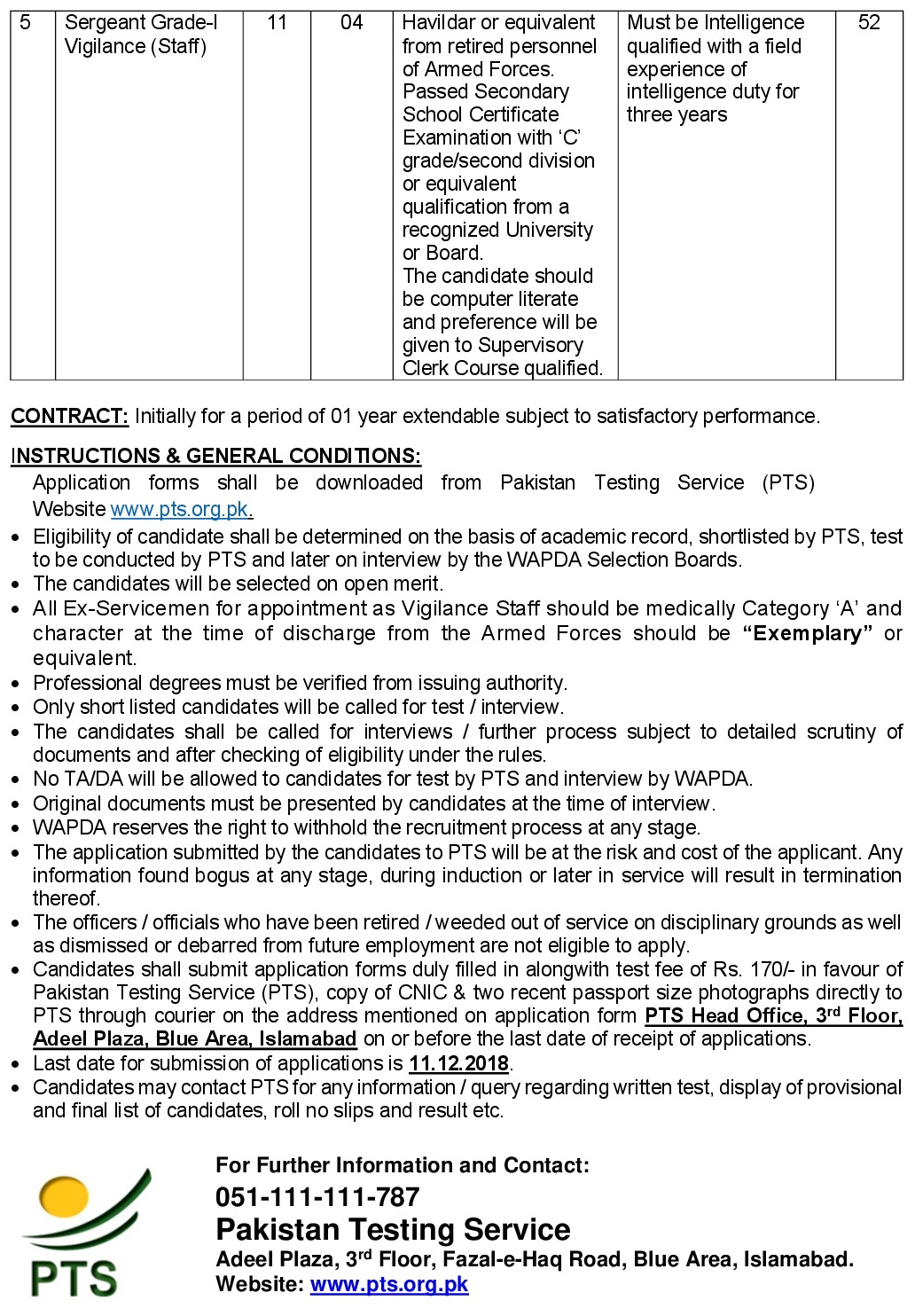 WAPDA Vigilance Directorate PTS Jobs 2021 Application Form