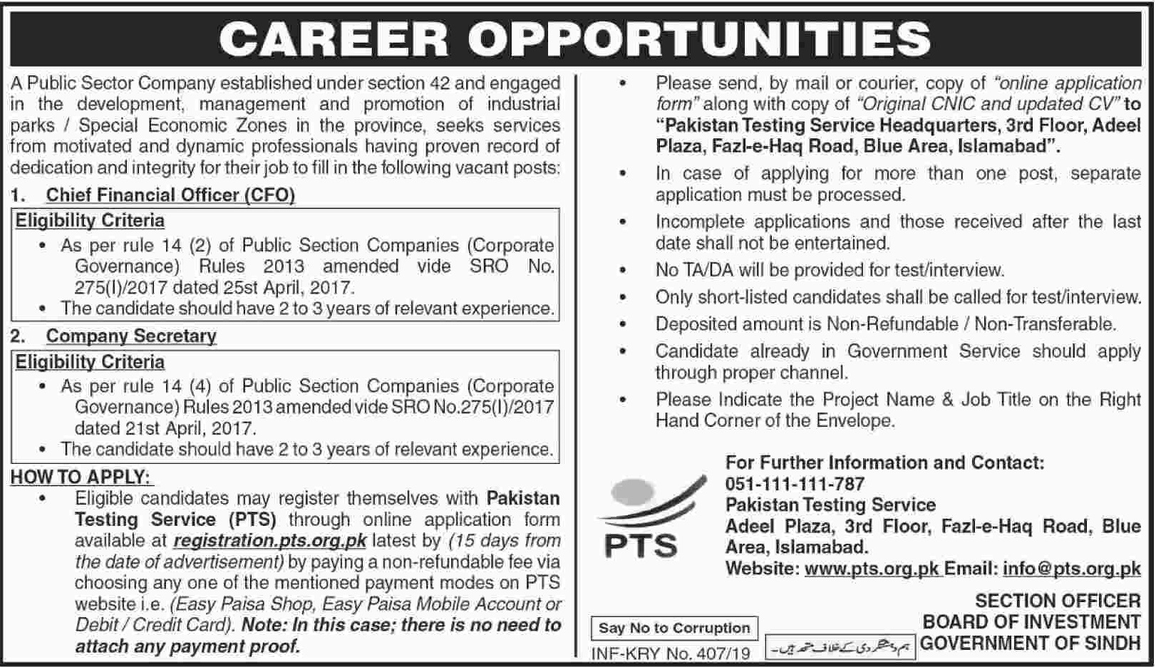 Board of Investment Sindh PTS Jobs 2020 Application Form Roll No Slip