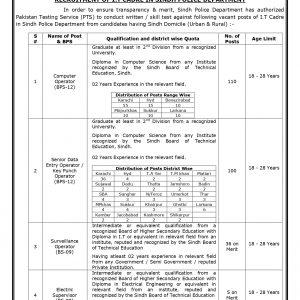 Sindh Police Department PTS Jobs 2020 Test Preparation online