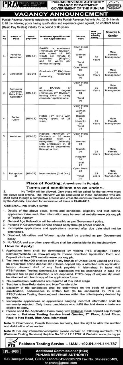 Punjab Revenue Authority Finance Department Jobs 2019 PTS Test Roll No Slip Download