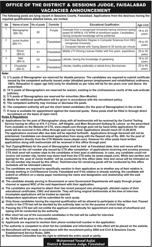 District & Sessions Judge Jobs 2019 CTSP Application Form Roll No Slip Download