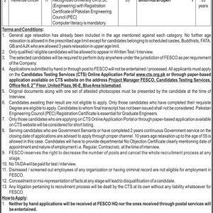 Faisalabad Electric Supply Company FESCO SDO & RO CTS Jobs 2021 Application Form Roll No Slip