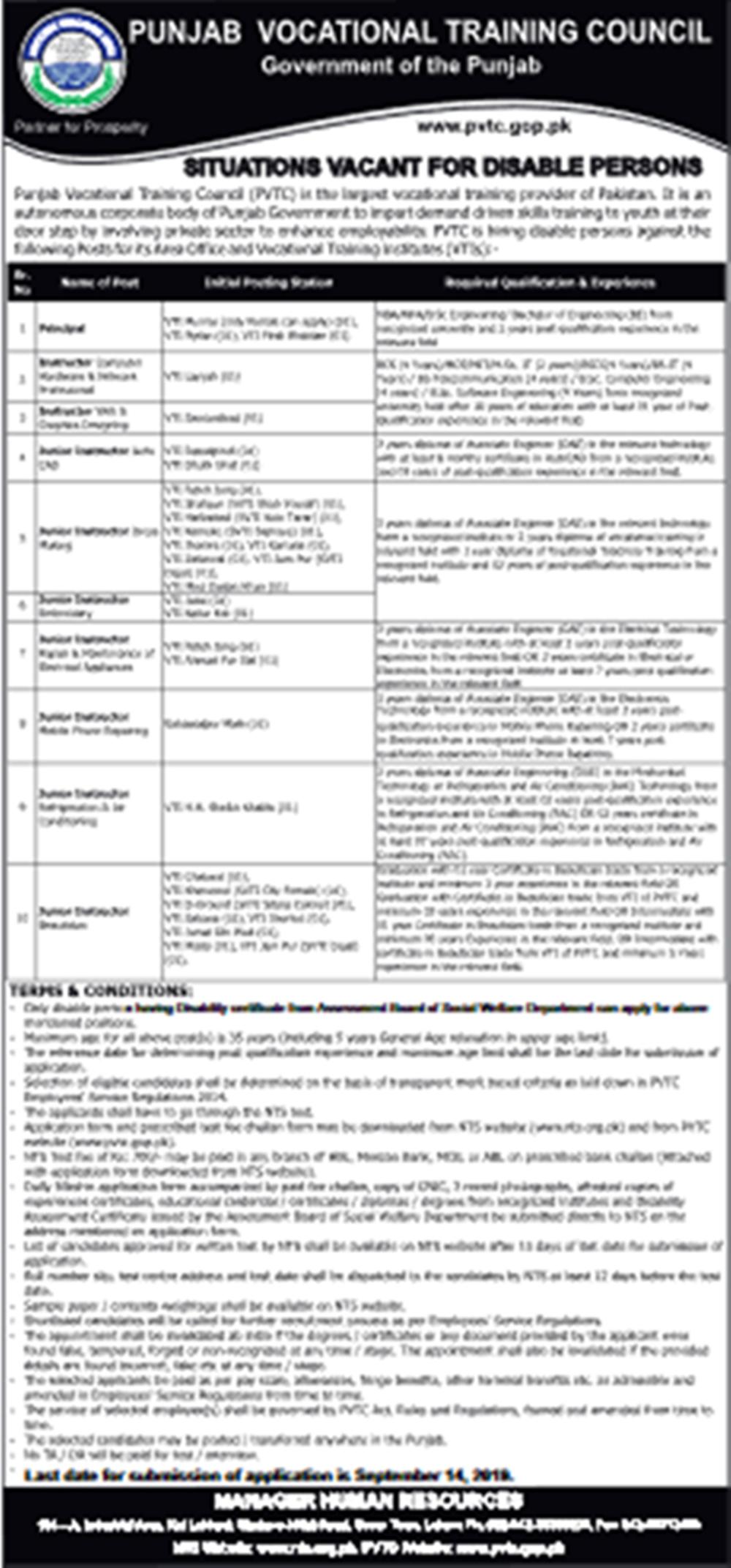 Punjab Vocational Training Council PVTC NTS Jobs 2019