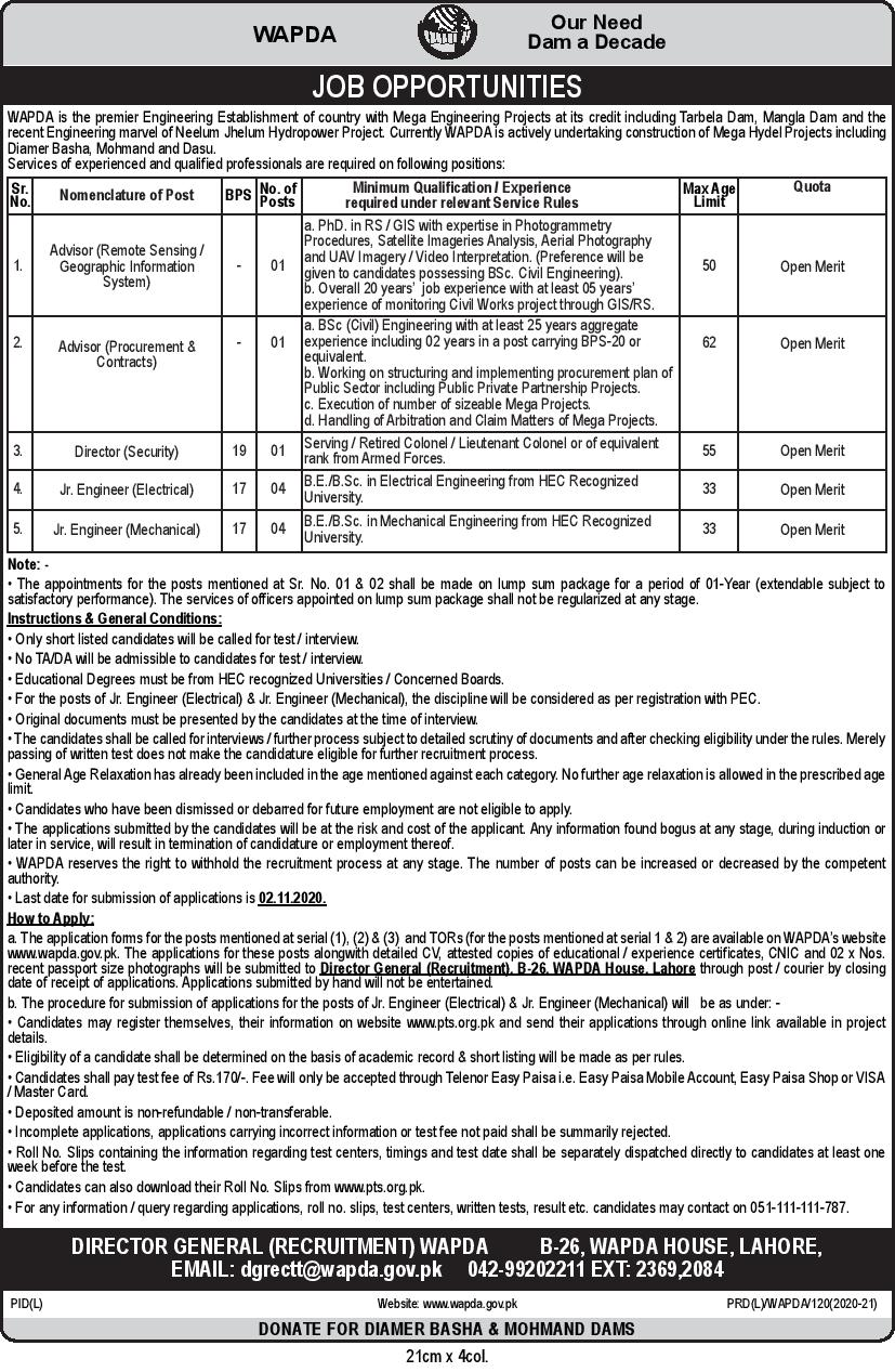 Water & Power Development Authority WAPDA PTS Jobs 2020 Application Form Roll No Slip Download