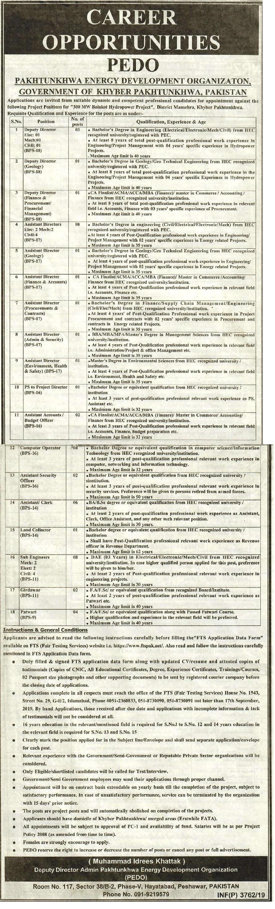 KPK Energy Development Organization FTS Jobs 2019 Application Form Roll No Slip