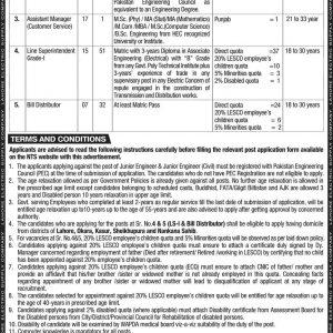 LESCO Lahore Electric Supply Company NTS Jobs 2021 Application Form Roll No Slip