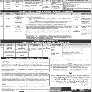 PPSC Advertisement No 28/2020 Health Care & Medical Education Department Jobs Apply Online