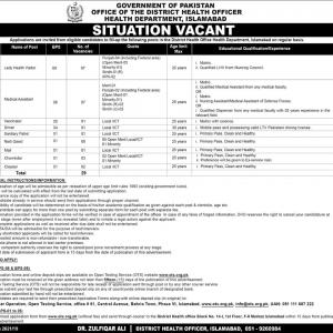 Health Department Islamabad Jobs 2021