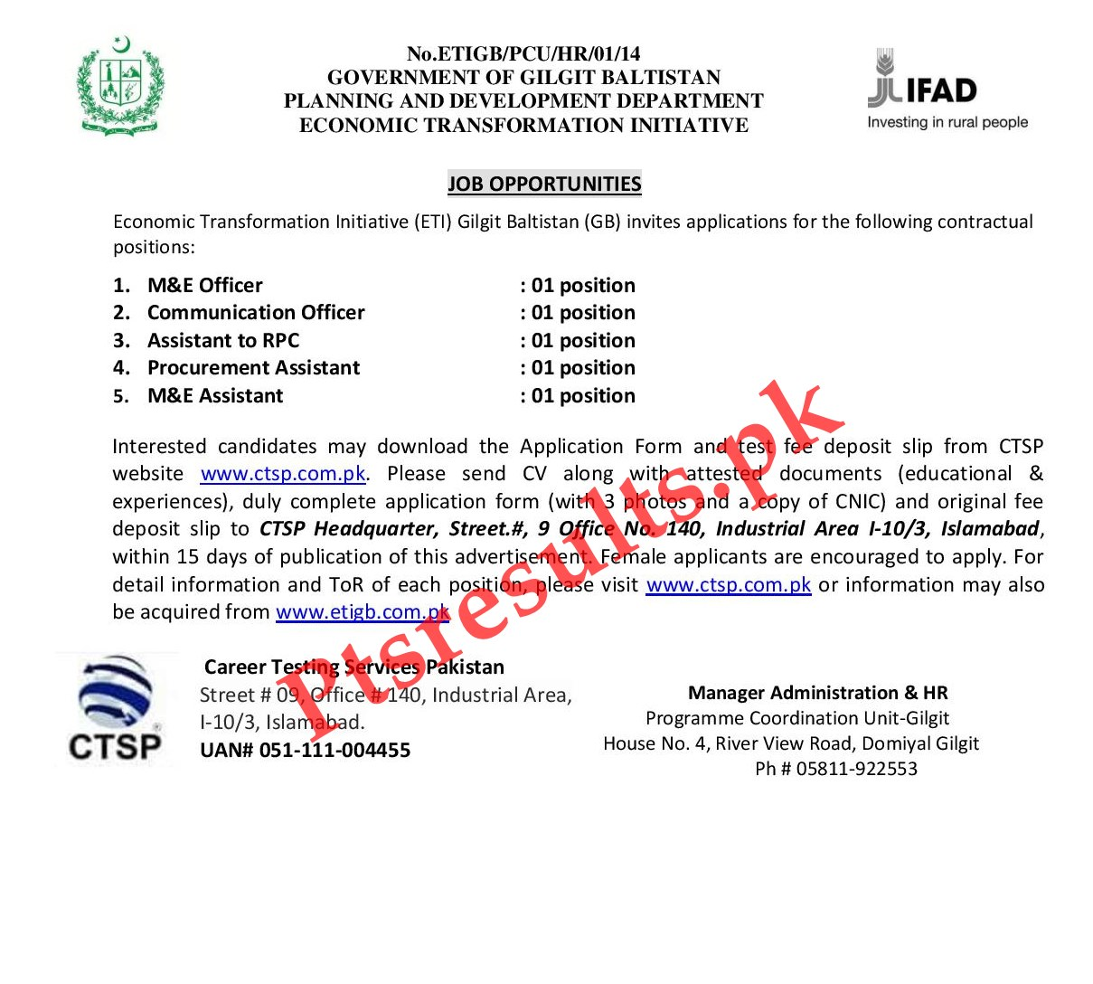Planning & Development Department GB Jobs 2020 CTSP Application Form Roll No Slip
