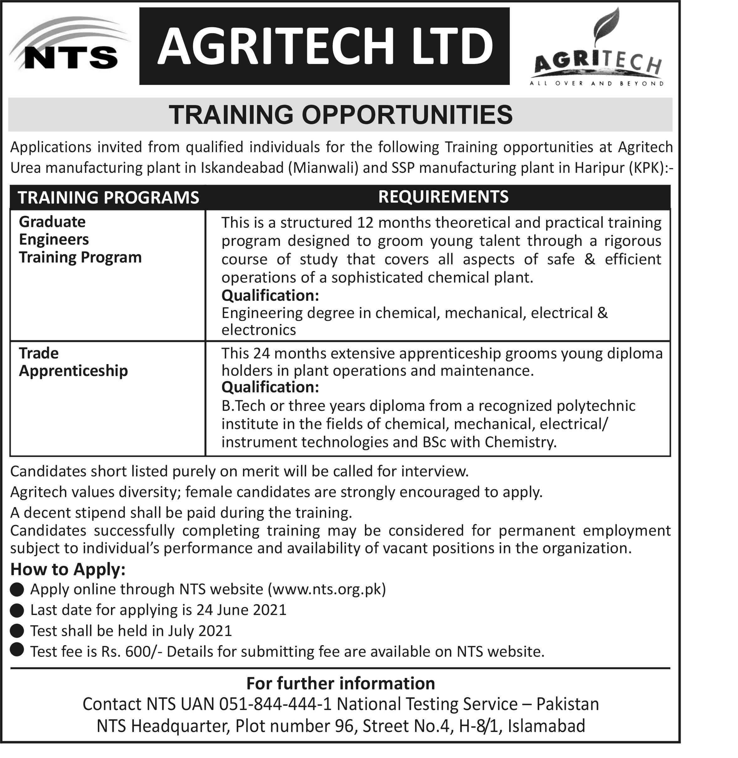 Agritech LTD Training Opportunities Jobs NTS Apply Online