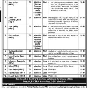 Establishment of Plant Breeders PTS Jobs 2021 Application Form