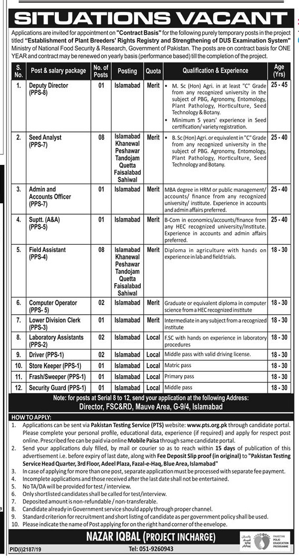 Establishment of Plant Breeders PTS Jobs 2019 Application Form Roll No Slip