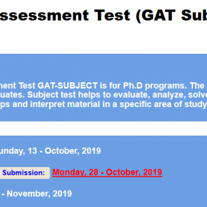 Graduate Assessment Test GAT Subject 2021 IV Registration Online Roll No Slip