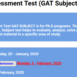 GAT Graduate Assessment Subject 2020-I NTS Test Roll No Slip