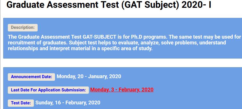 Graduate Assessment NTS GAT Subject 2020-I Apply online