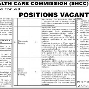 Health Department Sindh Jobs 2021 Application form