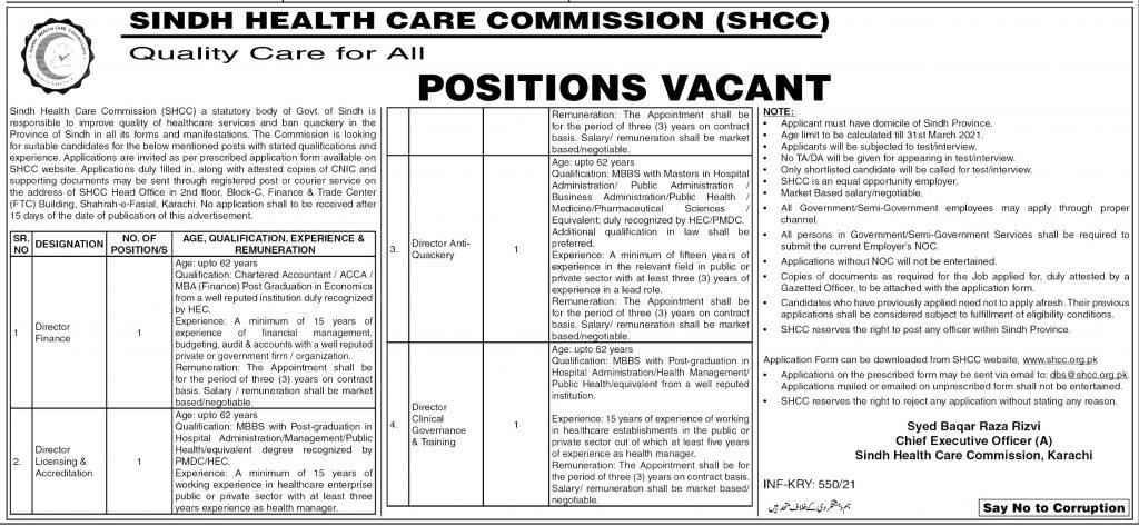 Health Department Sindh Jobs 2021 Application form Interview Date Download Online
