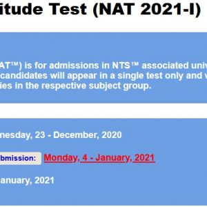 National Aptitude Test NAT 2021-I NTS Result & Merit List Check Online
