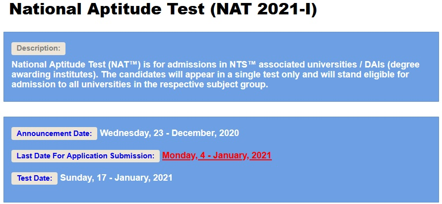 National Aptitude Test NAT 2021-I Registration Online Roll No Slip Download