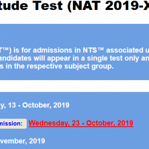 National Aptitude Test NAT 2020-XI Roll No Slip