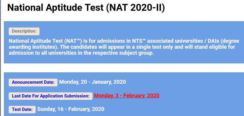 National Aptitude NTS NAT 2020-II Test Application form Roll No Slip
