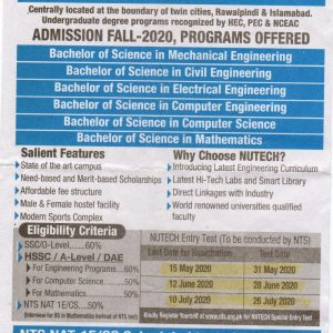 National University of Technology NUTECH NTS Admission 2020 Apply Online