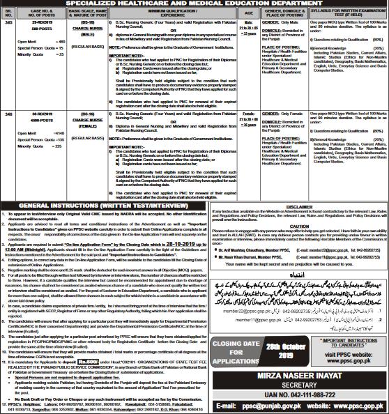 Punjab Charge Nurse PPSC Jobs 2019 Apply Online Roll No Slip Download