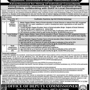 Deputy Commissioner Nowshera NTS Jobs 2021 Application Form
