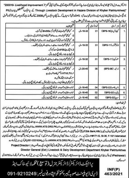 Live Stock & Dairy Development KPK Jobs 2021 ATS Application Form Roll No Slip Download Online