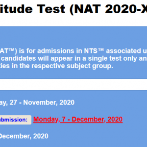 National Aptitude Test NAT 2020 XII NTS Registration Online Roll No Slip