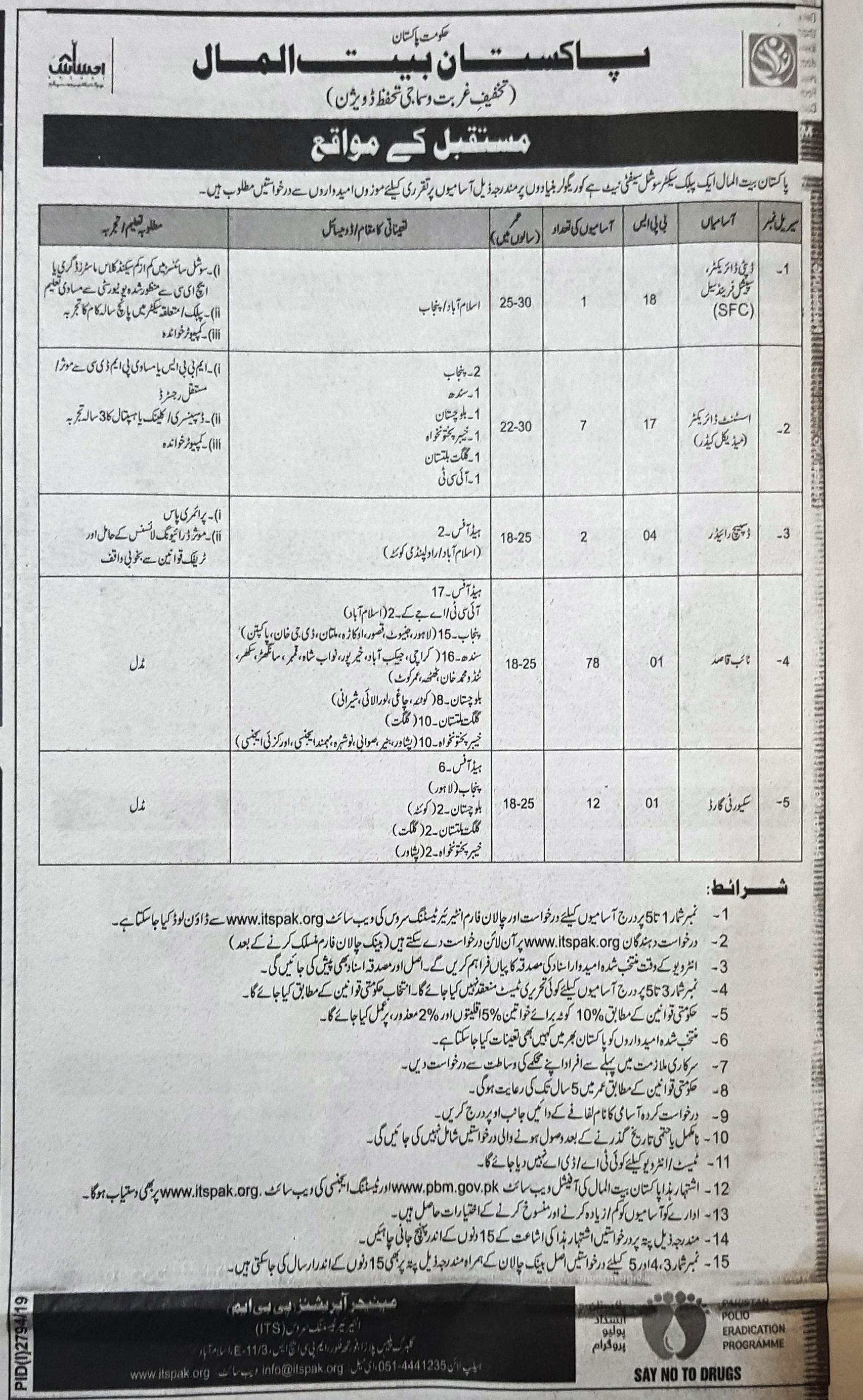 Pakistan Bait ul Mal ITS Jobs 2019 Application Form Roll No Slip download online