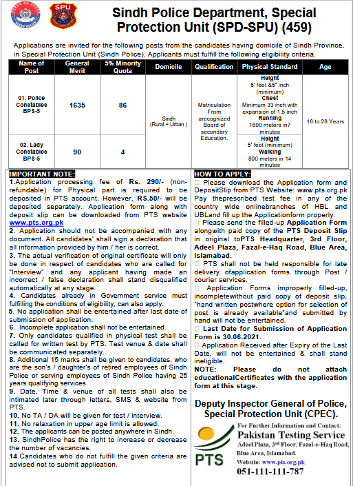 PTS Sindh Police Constable Jobs