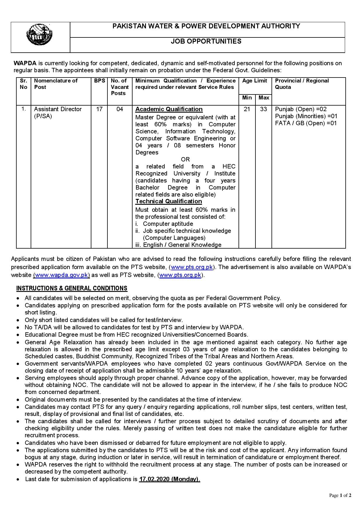 Water & Power Development Authority WAPDA Phase VI PTS Jobs 2020 Apply Online Roll No Slip Download