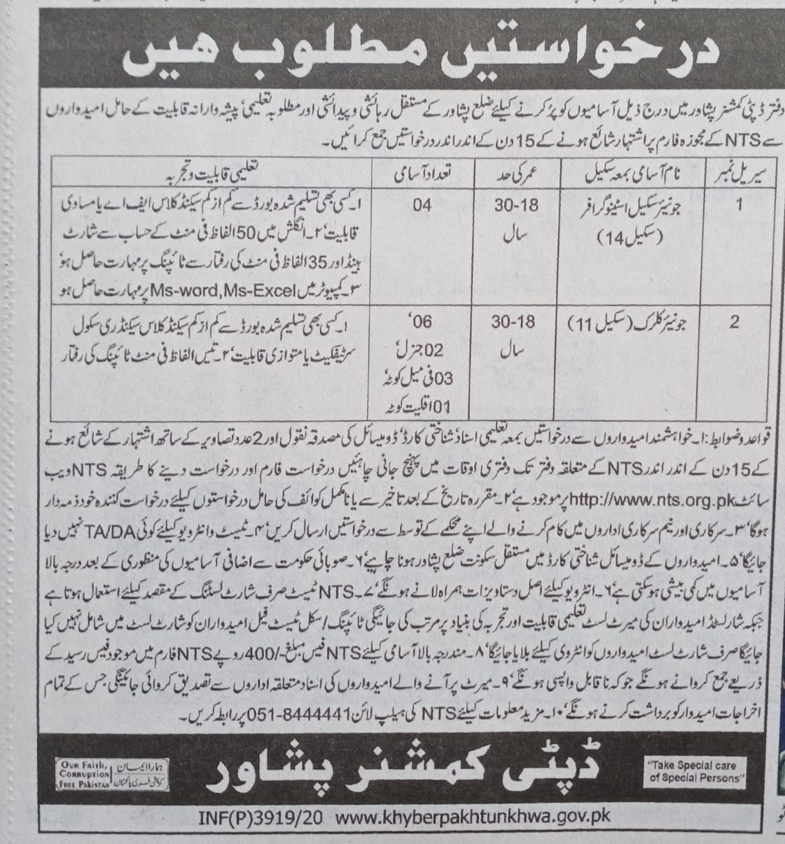 Deputy Commissioner Peshawar NTS Jobs 2020 Application Form Roll No Slip