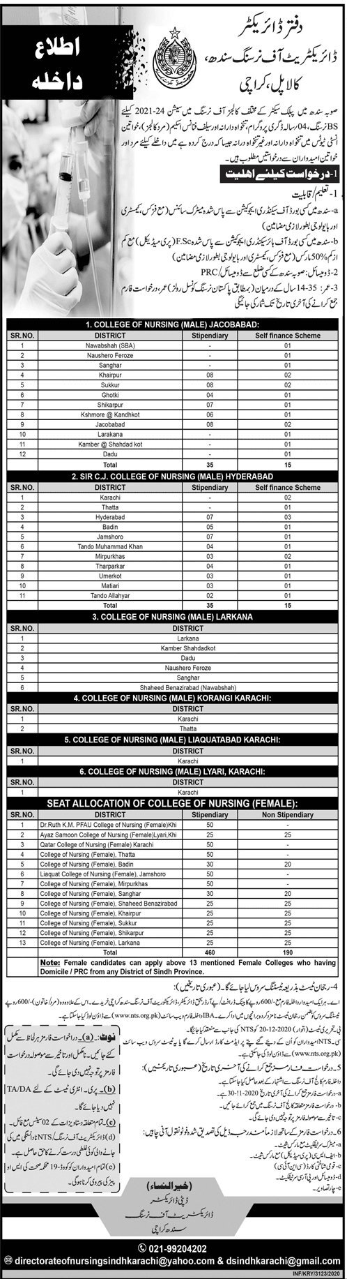 Directorate of Nursing Sindh NTS Admission 2020 Roll No Slip