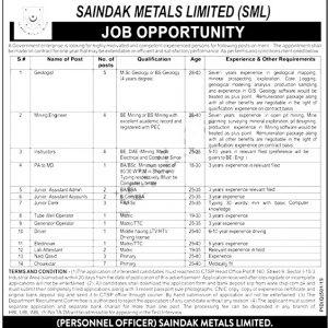 Saindak Metals Limited Jobs 2021