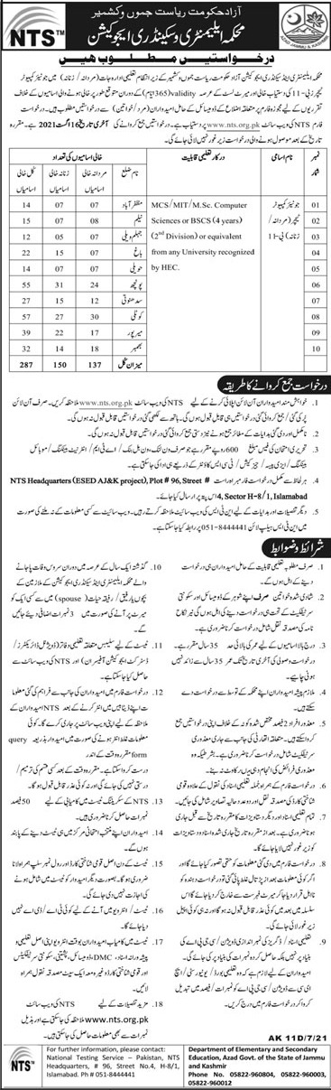 Elementary & Secondary Education Department AJK Jobs