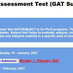 Graduate Assessment Test GAT Subject 2021-I