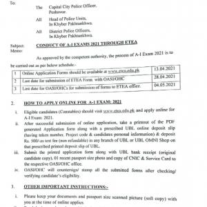 KPK Police Department ETEA Jobs 2021