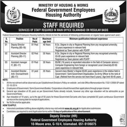 Ministry of Housing & Works Jobs 2020 NTS Application Form Roll No Slip