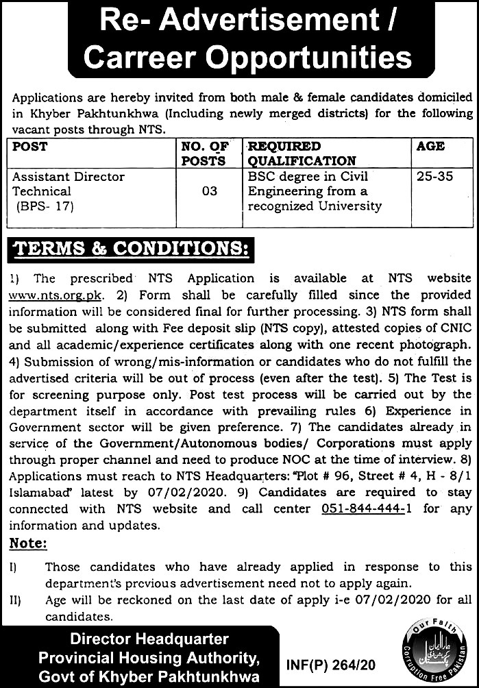 Provincial Housing Authority NTS Jobs 2020 Application Form Roll No Slip Download Online