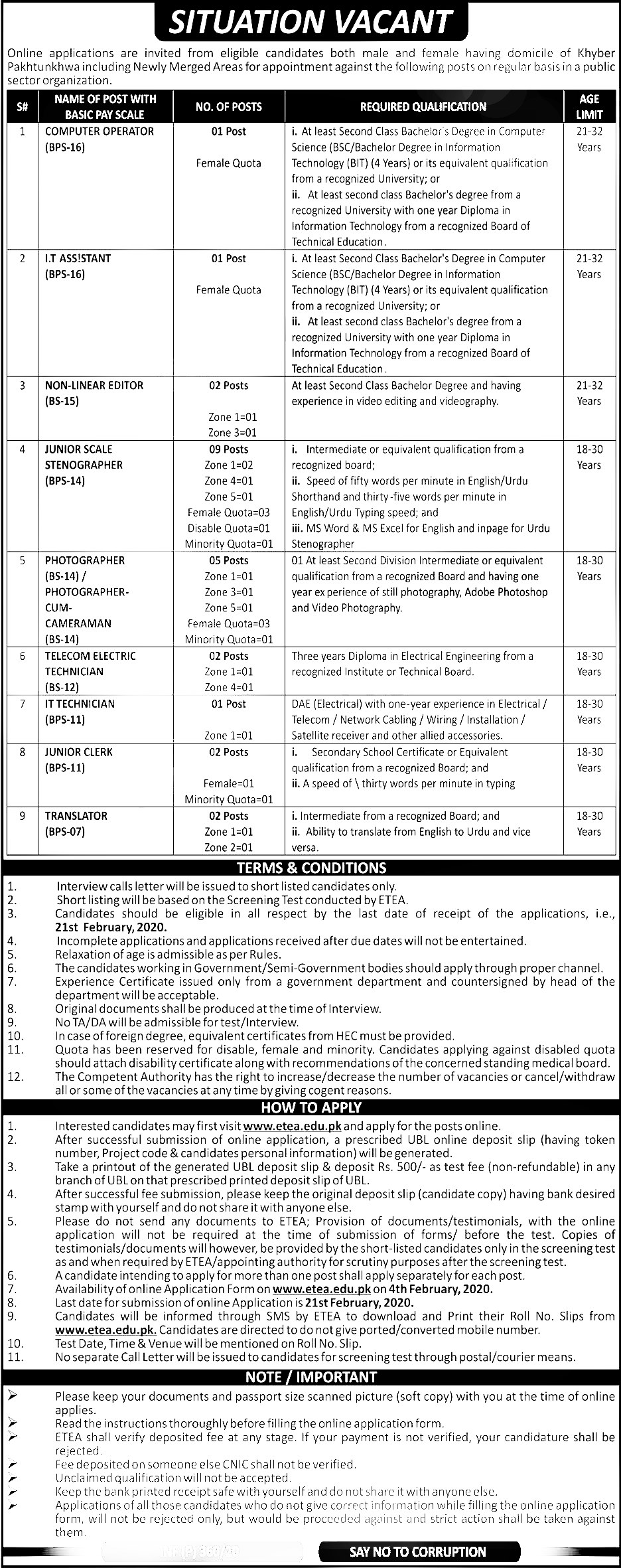 Public Sector Organization KPK ETEA Jobs 2020 Application Form Roll No Slip Download online