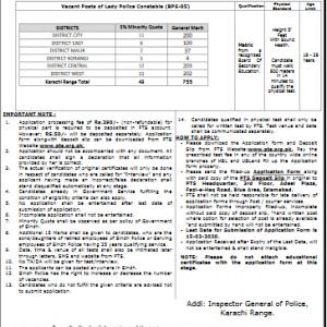 Sindh Police Karachi Range Jobs 2020