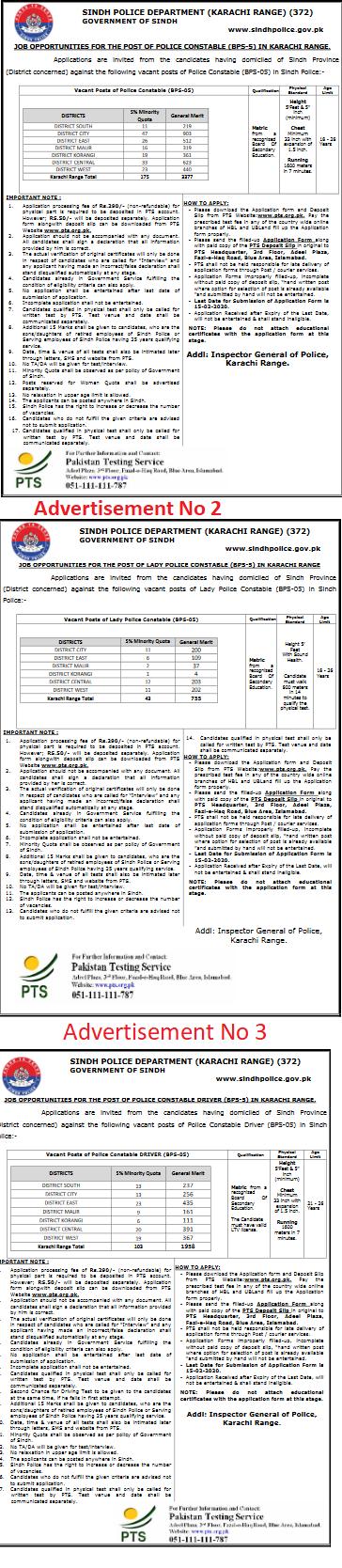 Sindh Police Karachi Range Jobs 2020 PTS Application Form Roll No Slip Download online