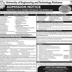 University of Engineering & Technology UET Peshawar Admission 2021