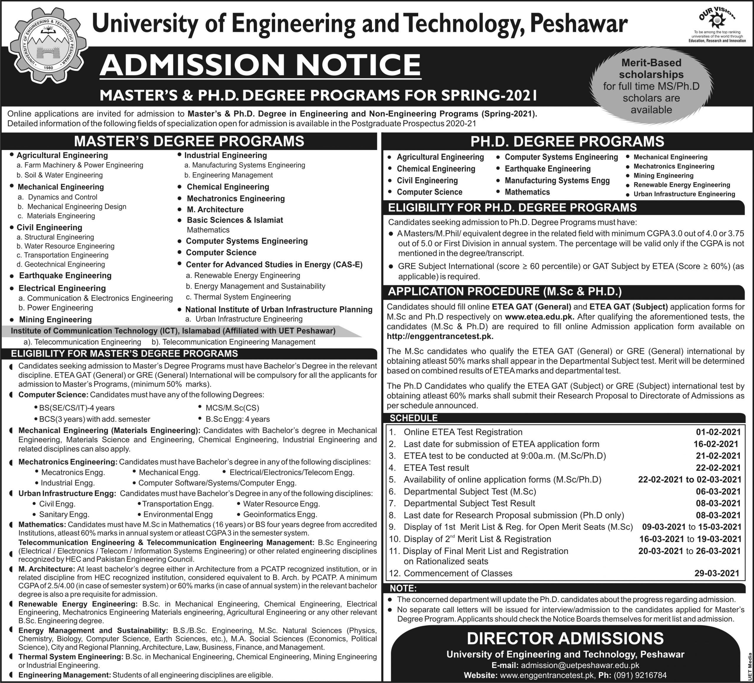 UET Peshawar ETEA Roll No Slip Download Online