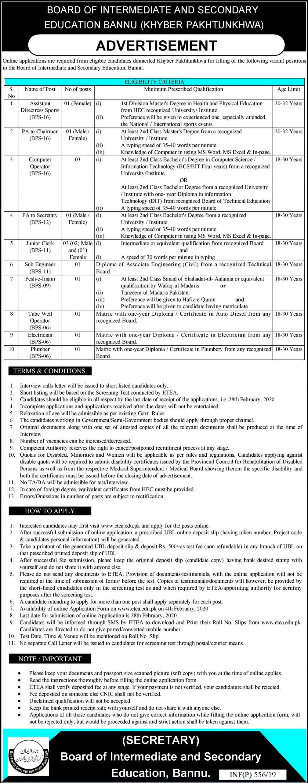 Board of Intermediate & Secondary Education BISE Bannu ETEA Jobs 2020 Application Form Roll No Slip download online